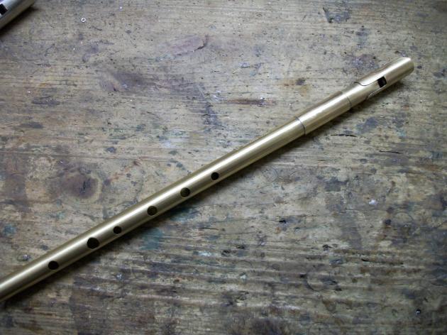 TWZ Tin Whistle Pure Brass in High D und C